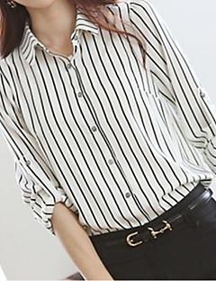 Women's Fine Stripe Simple All Seasons Shirt,Striped Shirt Collar Long Sleeve White Medium