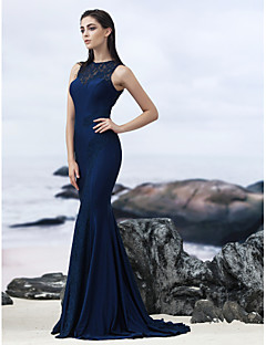 TS Couture Formal Evening Dress - Dark Navy Trumpet/Mermaid Jewel Sweep/Brush Train Lace