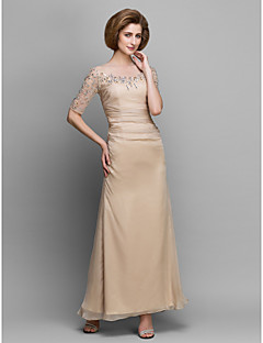 A-line Mother of the Bride Dress - Champagne Ankle-length Half Sleeve Chiffon