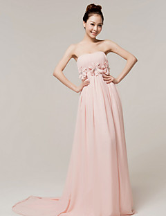 Formal Evening Dress - As Picture A-line Strapless Court Train Chiffon