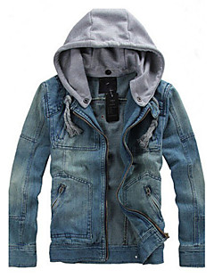 Men's Pure Long Sleeve Hooded Jacket , Denim Casual