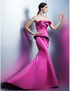 Formal Evening Dress - Trumpet/Mermaid Strapless Sweep/Brush Train Satin