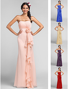 Bridesmaid Dress Floor Length Chiffon Sheath Column Sweetheart Dress