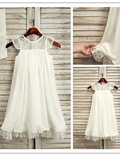 bloem meisje jurken korte / mini chiffon a-lijn juweel jurk
