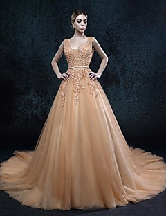 A-line Wedding Dress Wedding Dresses in Color Court Train V-neck Tulle with