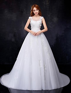 A-line Wedding Dress - White Chapel Train Scoop Organza/Satin