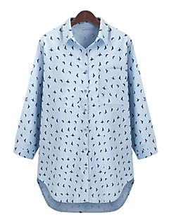 Women's Print Blue / White Shirt , Shirt Collar ¾ Sleeve, Plus Size