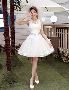 Ball Gown Wedding Dress Short / Mini Halter Tulle with