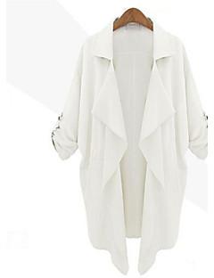 Women's Solid Blue/White/Beige Jackets , Casual Shirt Collar ¾ Sleeve Pocket/Ruffle