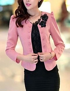 Women's Fall Blazer,Solid Round Neck Long Sleeve Pink / Red / White / Black Others Medium