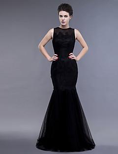 Vestido - Negro Ajustado y Ancho Hasta el Suelo - Escote Joya Encaje/Tul