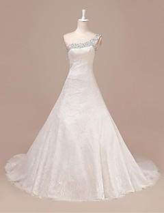 웨딩 드레스 - 아이보리(색상은 모니터에 따라 다를 수 있음) A 라인 스위프/브러쉬 트레인 원 숄더 레이스