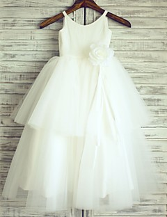 Princess Floor-length Flower Girl Dress - Cotton / Tulle Sleeveless Straps with
