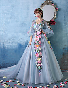 Formal Evening Dress - Sky Blue Petite Ball Gown V-neck Cathedral Train Tulle / Charmeuse