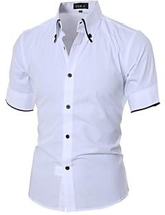 Effen-Informeel-Heren-Katoen-Overhemd-Korte mouw-Zwart / Wit