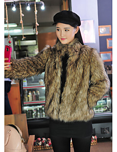 Fur Coats Coats/Jackets Long Sleeve Faux Fur Brown