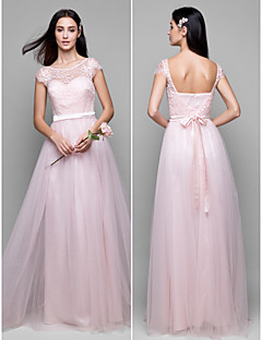 Lanting Floor-length Lace / Tulle Bridesmaid Dress - Pearl Pink A-line Scoop