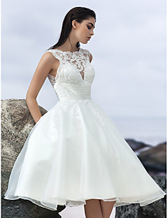 Lanting A-line Wedding Dress - Ivory Knee-length Jewel Organza