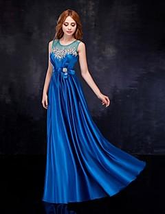 저녁 정장파티 드레스 - 로얄 블루 시스/컬럼 바닥 길이 스쿱 사틴/명주그물