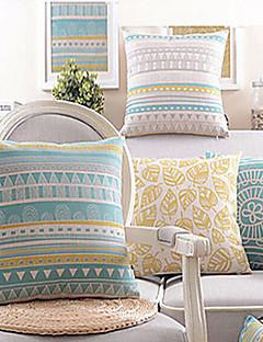 Conjunto de 4 Life Mel algodão / Linen decorativa fronha