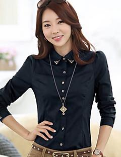 Women's Formal Simple All Seasons Shirt,Solid Shirt Collar Long Sleeve Blue / Red / White / Gray Cotton Medium