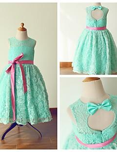 Princess Tea-length Flower Girl Dress - Lace/Satin Sleeveless