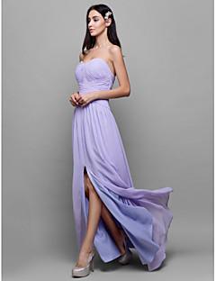 Lanting Bride® עד הריצפה ג'ורג'ט שמלה לשושבינה - מעטפת \ עמוד מחשוף לב עם בד בהצלבה