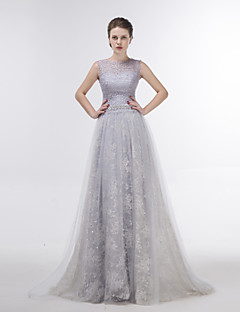 Dress Sheath / Column Jewel Sweep / Brush Train Lace / Tulle with Crystal Detailing / Lace