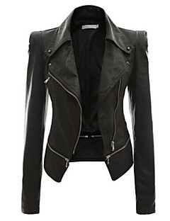 Women's Slim Stylish Zipper Stitching Long Sleeved PU Leather Jacket