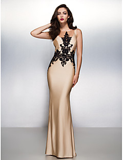 Formal Evening / Black Tie Gala Dress Trumpet / Mermaid Scoop Sweep / Brush Train Jersey with