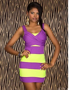 Women's Club Dress,Color Block Strap Knee-length Sleeveless Pink / Yellow Polyester Summer