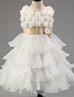 Ball Gown Knee-length Flower Girl Dress - Satin / Tulle / Polyester Sleeveless