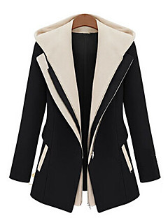 Women's Patchwork Black / Yellow / Almond Trench Coat , Casual Long Sleeve Cotton Blends