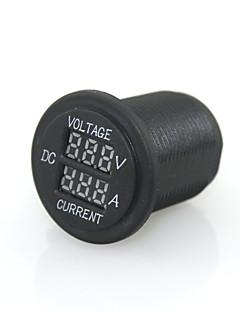 12/24V Digital  LED Red Light Indicator Current Ammeter +Voltage Meter Panel Plug Socket For Auto Car Motorcycle
