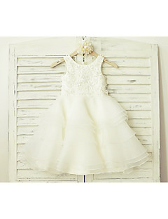 A-line Knee-length Flower Girl Dress - Lace / Organza Sleeveless Scoop with