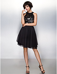 TS Couture® Prom / Cocktail Party / Company Party Dress - Beautiful Back A-line Halter Knee-length Chiffon / Sequined with Sequins