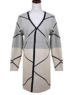 Women's Long Cardigan,Print Gray Long Sleeve Cotton Linen Others Fall Medium