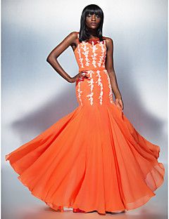 Formal Evening Dress - Orange Plus Sizes / Petite Trumpet/Mermaid Scoop Floor-length Chiffon / Tulle