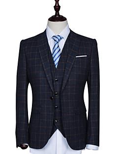 Obleky Na míru Otevřené Jednořadé s jedním knoflíkem Polyester / Rayon (T / R) Kostičky (Gingham 3 ks Tmavě modrá Rovné s klopou