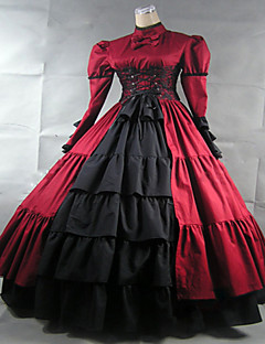 Steampunk®Wine Red Gothic Victorian Dress Long Period Dress Ball Gown Reenactment