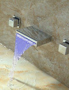 Widespread Two Handles Two Holes in Chrome Bathroom Sink Faucet