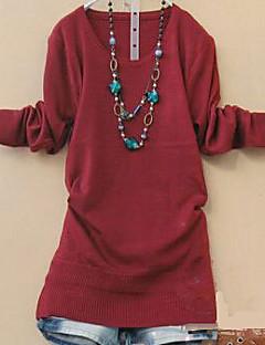 Blusa Da donna Casual Semplice Autunno,Tinta unita Rotonda Rosa / Rosso / Verde / Giallo / Viola Manica lunga Medio spessore