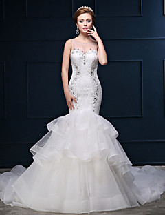 Trumpet/Mermaid Wedding Dress - White Chapel Train Scoop Lace/Tulle/Charmeuse