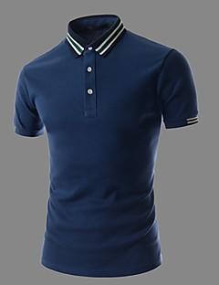 男性用 半袖 ポロシャツ , コットン カジュアル ストライプ