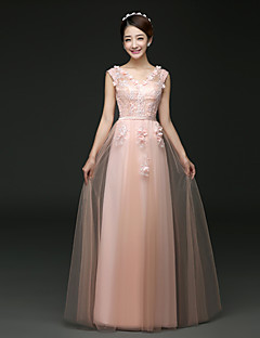 Formal Evening Dress - Blushing Pink / Ruby A-line V-neck Floor-length Tulle