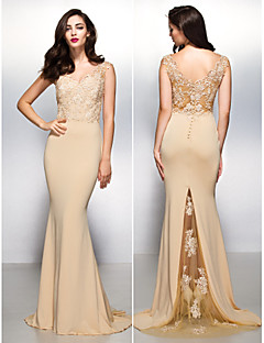 Formal Evening Dress - Champagne Trumpet/Mermaid V-neck Sweep/Brush Train Lace/Jersey