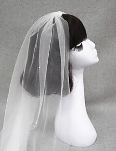 한층 - 컷 가장자리 - 엔젤컷/워터팔 - 손가락 베일/장식된 베일 ( 화이트/아이보리 , 새해장식/진주 )