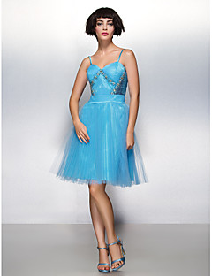 Cocktail Party Dress - Pool A-line Spaghetti Straps Knee-length Tulle