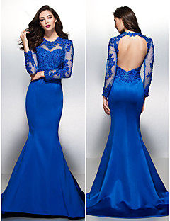 Formal Evening Dress - Royal Blue Trumpet/Mermaid Jewel Court Train Lace/Satin
