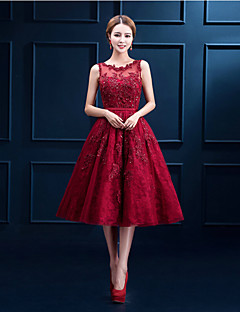 Cocktail Party Dress - Ruby / Burgundy / White A-line Scoop Tea-length Lace